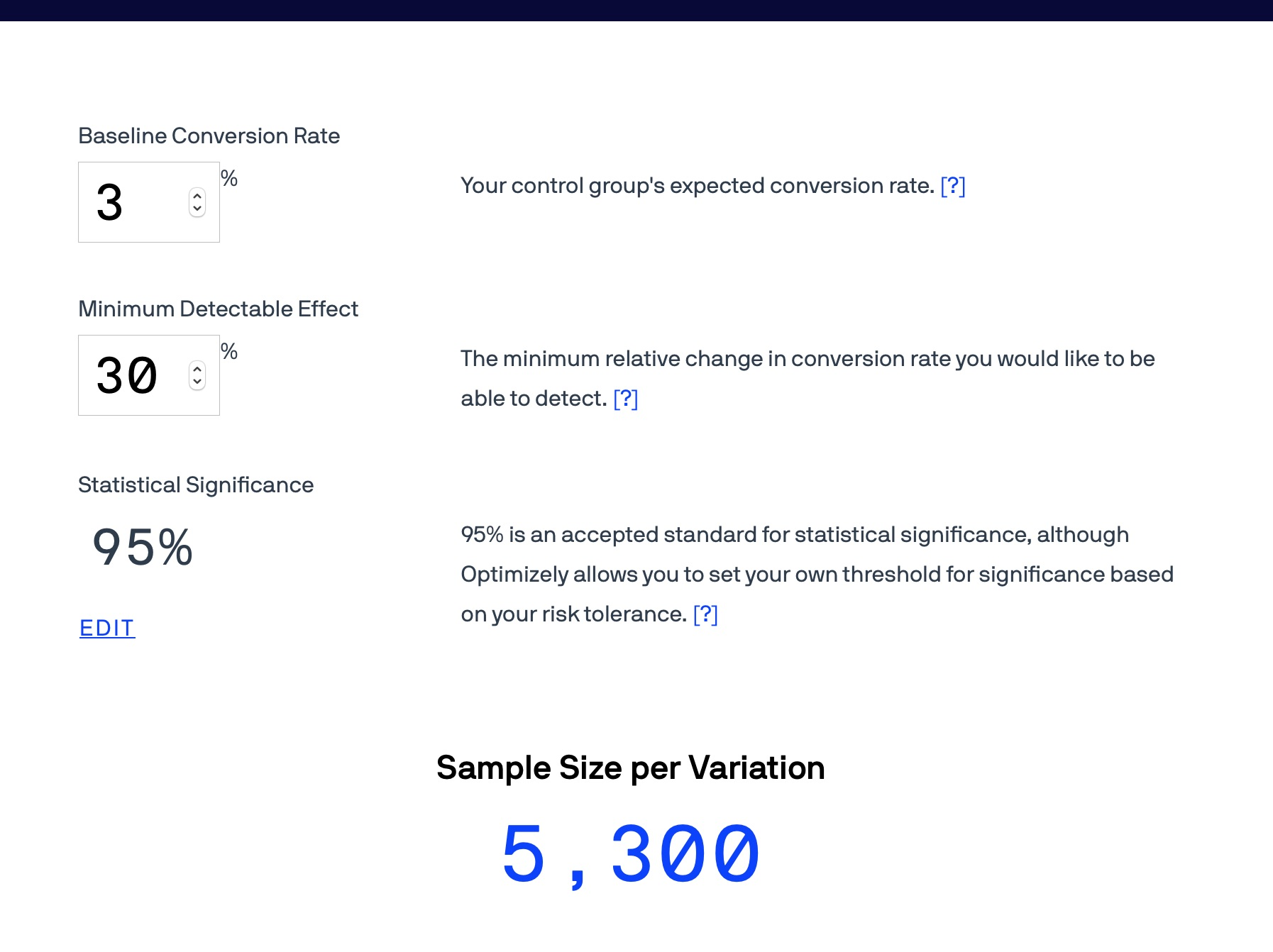 Screenshot of the Optimizely Sample Size Calculator