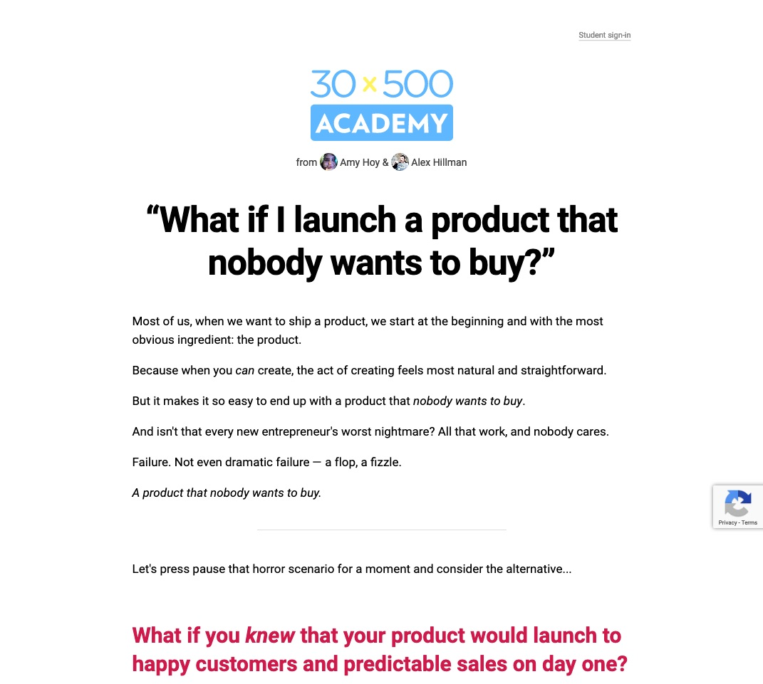 30x500 is an online course on making products and services people actually want