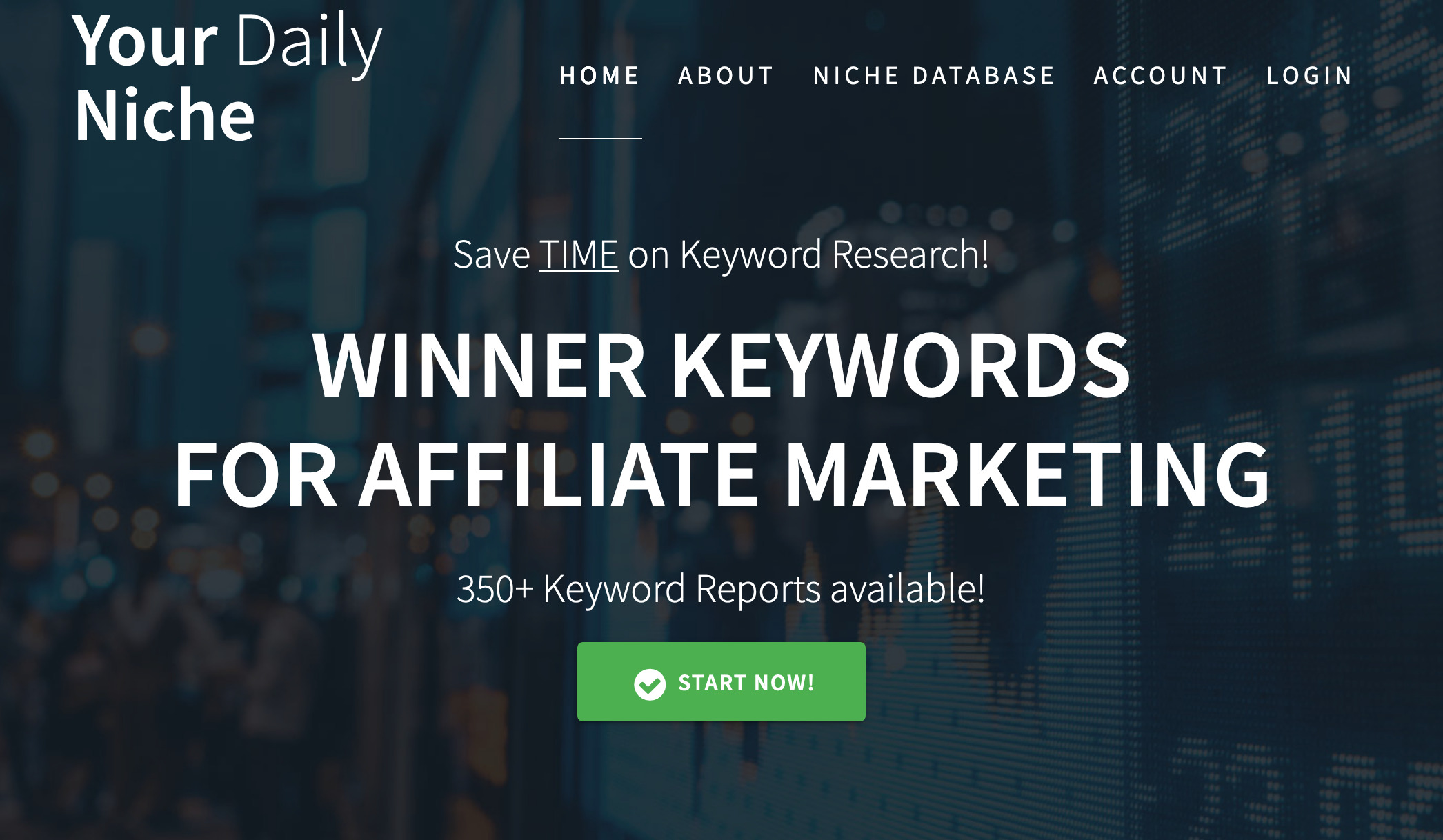 "The top of yourdailyniche.com, ""Winner Keywords For Affiliate Marketing"""